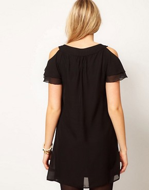 Image 2 ofASOS Maternity Dress With Cut Out Shoulder And Embellishment
