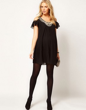 Image 4 ofASOS Maternity Dress With Cut Out Shoulder And Embellishment