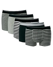 ASOS 5 Pack Trunks In Stripe