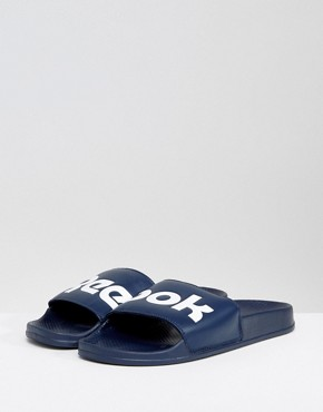 Reebok Split Logo Sliders In Navy BS8186