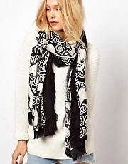 River Island Bones Print Pashmina
