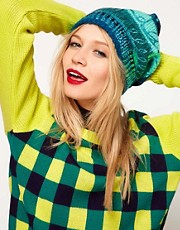 Lauren McCalmont For ASOS Foil Text Print Boyfriend Beanie