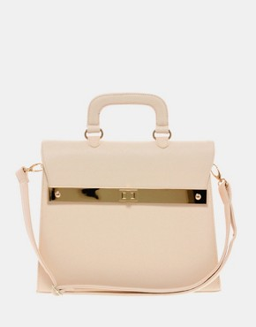 ASOS Top Handle Bag With Bar Lock Fitting :  spring pink strap flap