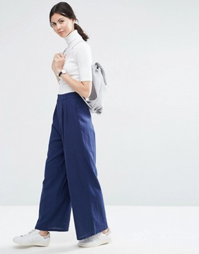 ASOS Textured Slouch Wide Leg Trousers