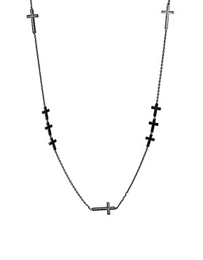 Image 1 ofWildfox Black Cross Necklace with Swarovski