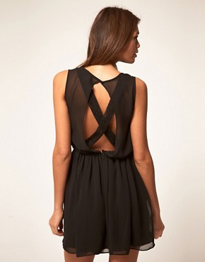 Image 1 ofASOS Skater Dress With Lace Cross Back