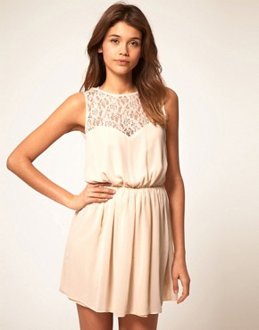 Image 2 ofASOS Skater Dress With Lace Cross Back