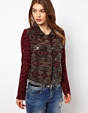 By Zoe Aztec Jacket with Contrast Knitted Sleeves