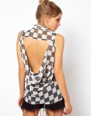 ASOS Sleeveless Shirt In Chequer Board Print