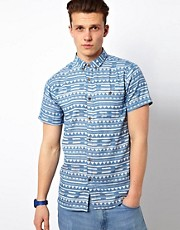 Solid Shirt With Aztec Print
