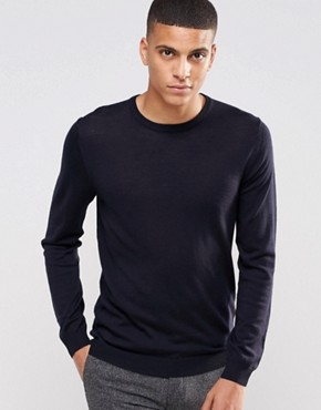 Reiss Crew Neck Jumper In Merino Wool