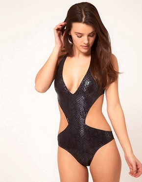Image 4 ofASOS Plunge Wet Look Snake Cut Out Swimsuit