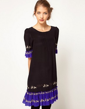 Image 1 ofLulu and Co Studio Contrast Poodle Ruffle Dress