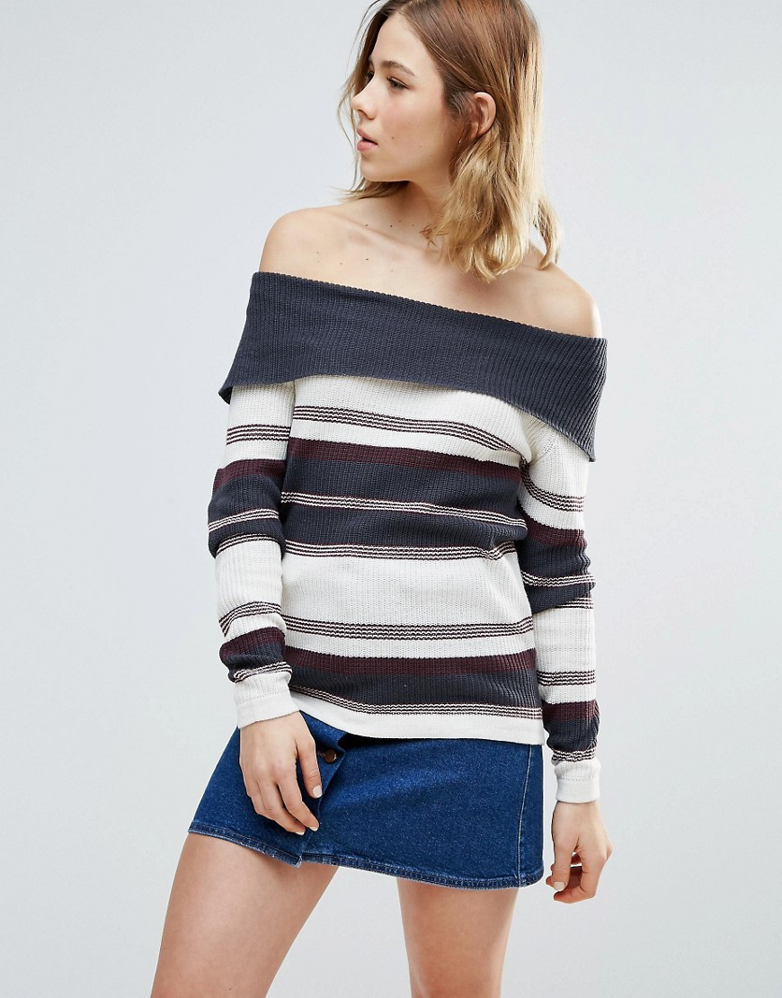 First & I Stripe Bardot Sweater - Blue