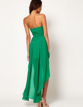 Image 2 ofTFNC Pleated Chiffon Bandeau Hi Lo Dress