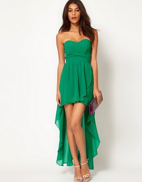 Image 4 ofTFNC Pleated Chiffon Bandeau Hi Lo Dress