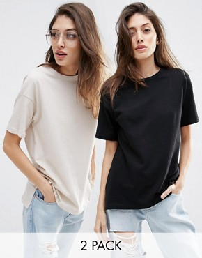 ASOS Linen Look Oversized T-Shirt 2 Pack Save 10%
