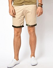 ASOS Chino Shorts With Camo Turn Up