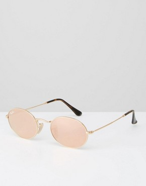 Ray-Ban Oval Flat Lens Sunglasses with Pink Flash Lens