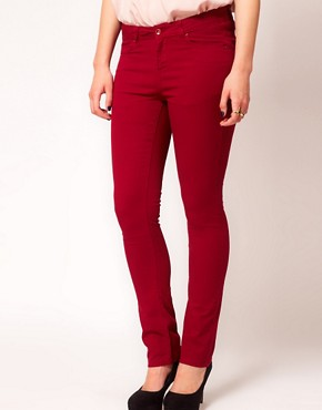 Image 4 ofASOS CURVE Exclusive Skinny Jean In Oxblood #4