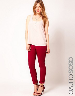 Image 1 ofASOS CURVE Exclusive Skinny Jean In Oxblood #4