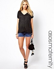 ASOS MATERNITY – Exklusive Jeansshorts im Used-Look