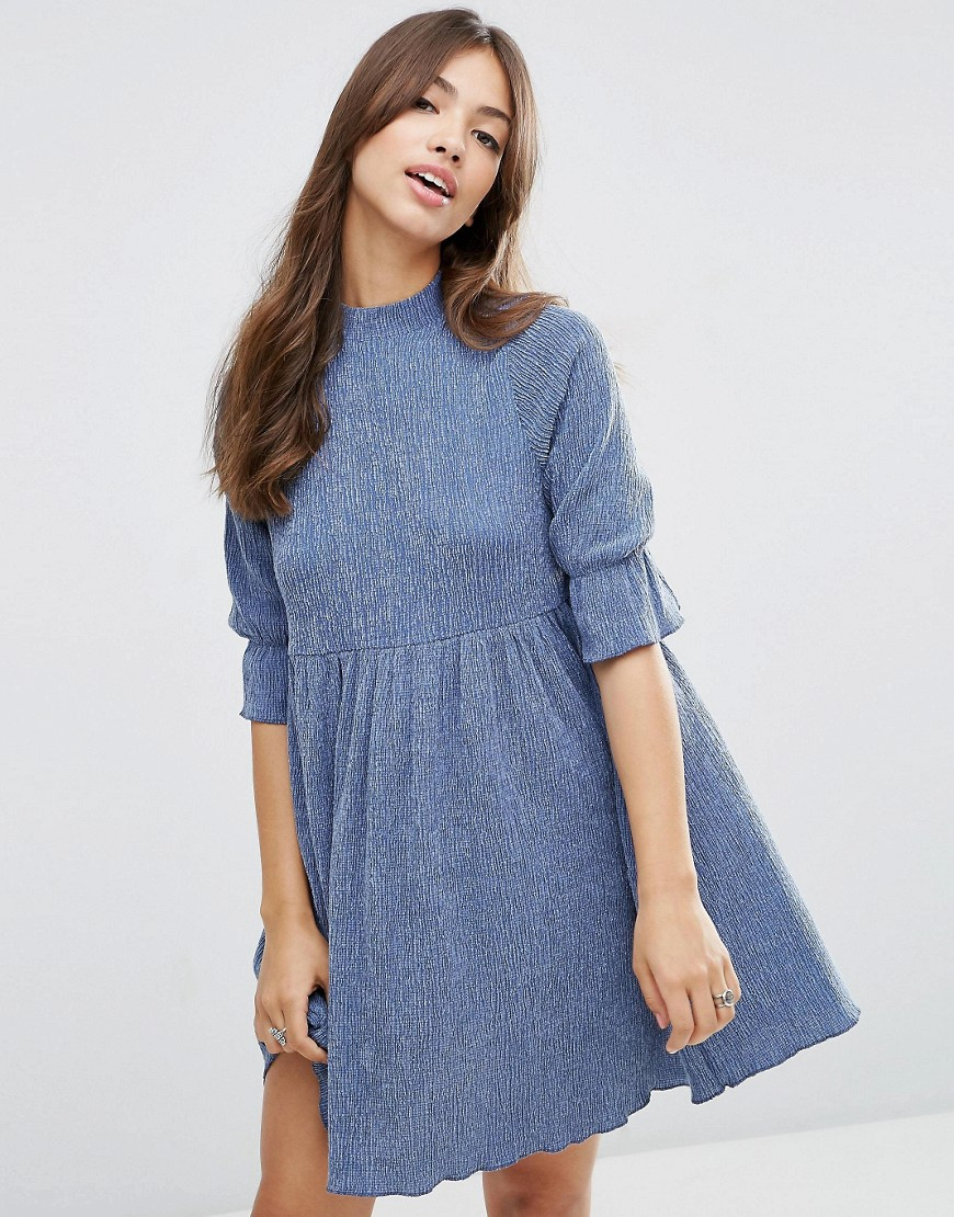 ASOS Smock Dress in Textured Fabric - Blue