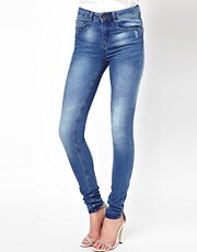 ASOS Ridley Supersoft high waisted ultra skinny jeans in Light Stonewash