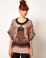 Emma Cook Kaftan Top with Contrast Collar in Leopard Print