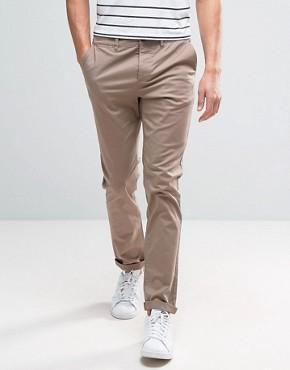 ASOS Slim Chinos In Light Brown