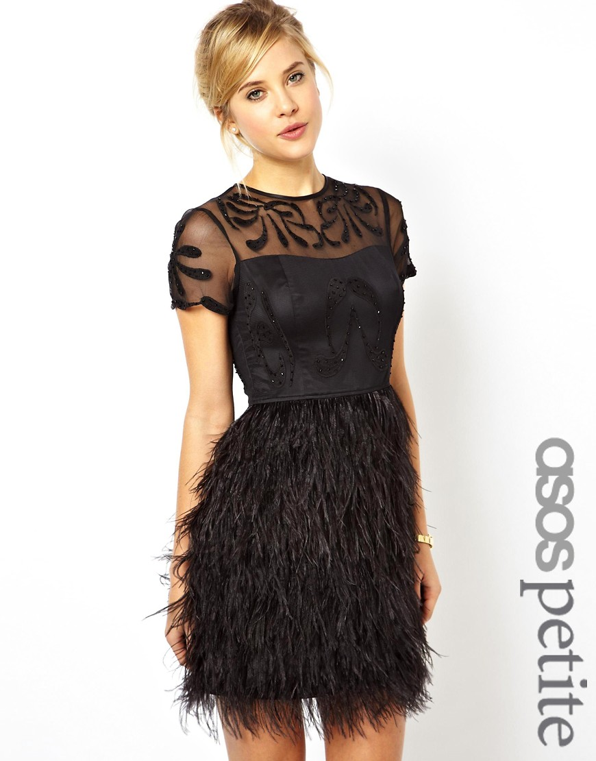 Image 1 of ASOS PETITE Exclusive Premium Dress With Feather Skirt