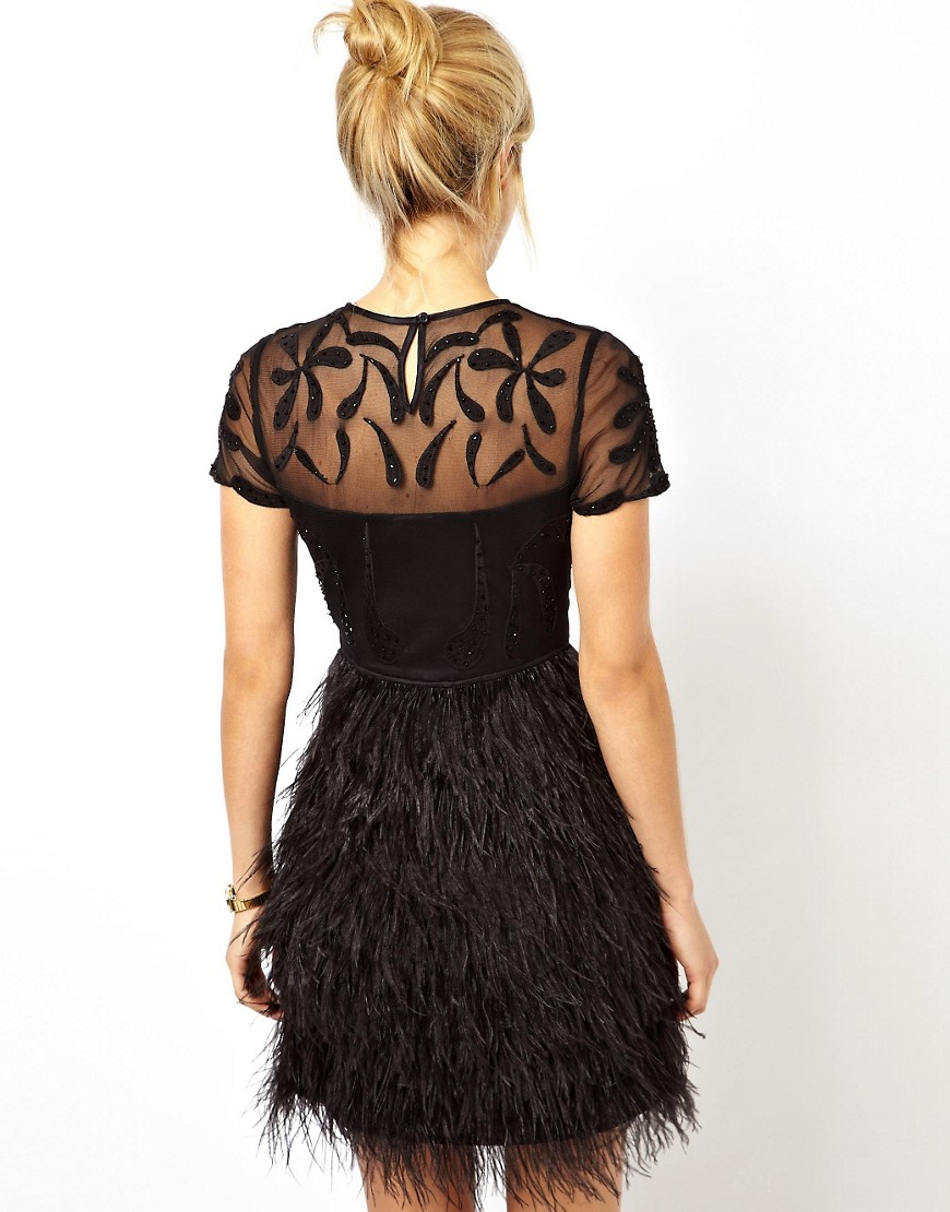 Image 2 of ASOS PETITE Exclusive Premium Dress With Feather Skirt