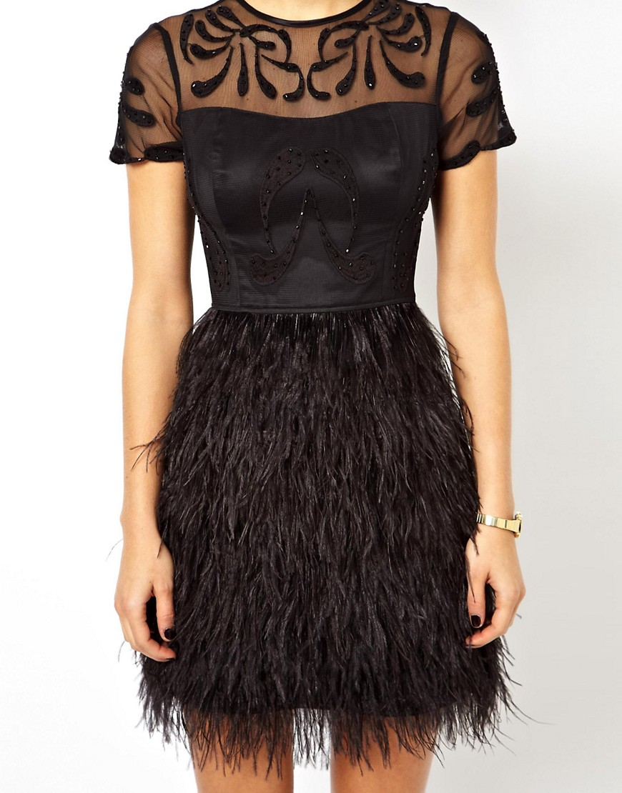 Image 3 of ASOS PETITE Exclusive Premium Dress With Feather Skirt