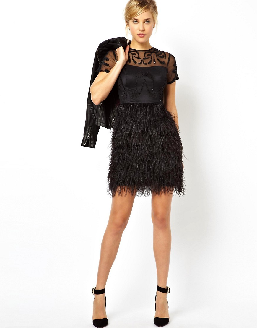 Image 4 of ASOS PETITE Exclusive Premium Dress With Feather Skirt