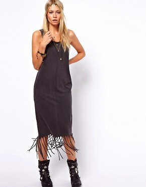 Image 1 of ASOS Midi Dress in Acid Wash With Fringe Hem
