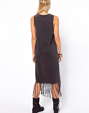 Image 2 of ASOS Midi Dress in Acid Wash With Fringe Hem
