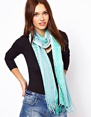 Warehouse Blue Woven Border Scarf