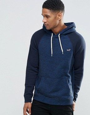 Hollister Overhead Hoodie In Navy Slim Fit