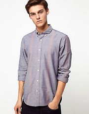 Velour Shirt With Single Block Stripe