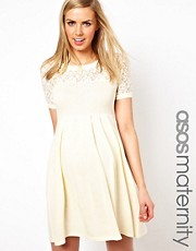 ASOS Maternity Exclusive Knitted Dress With Lace Insert
