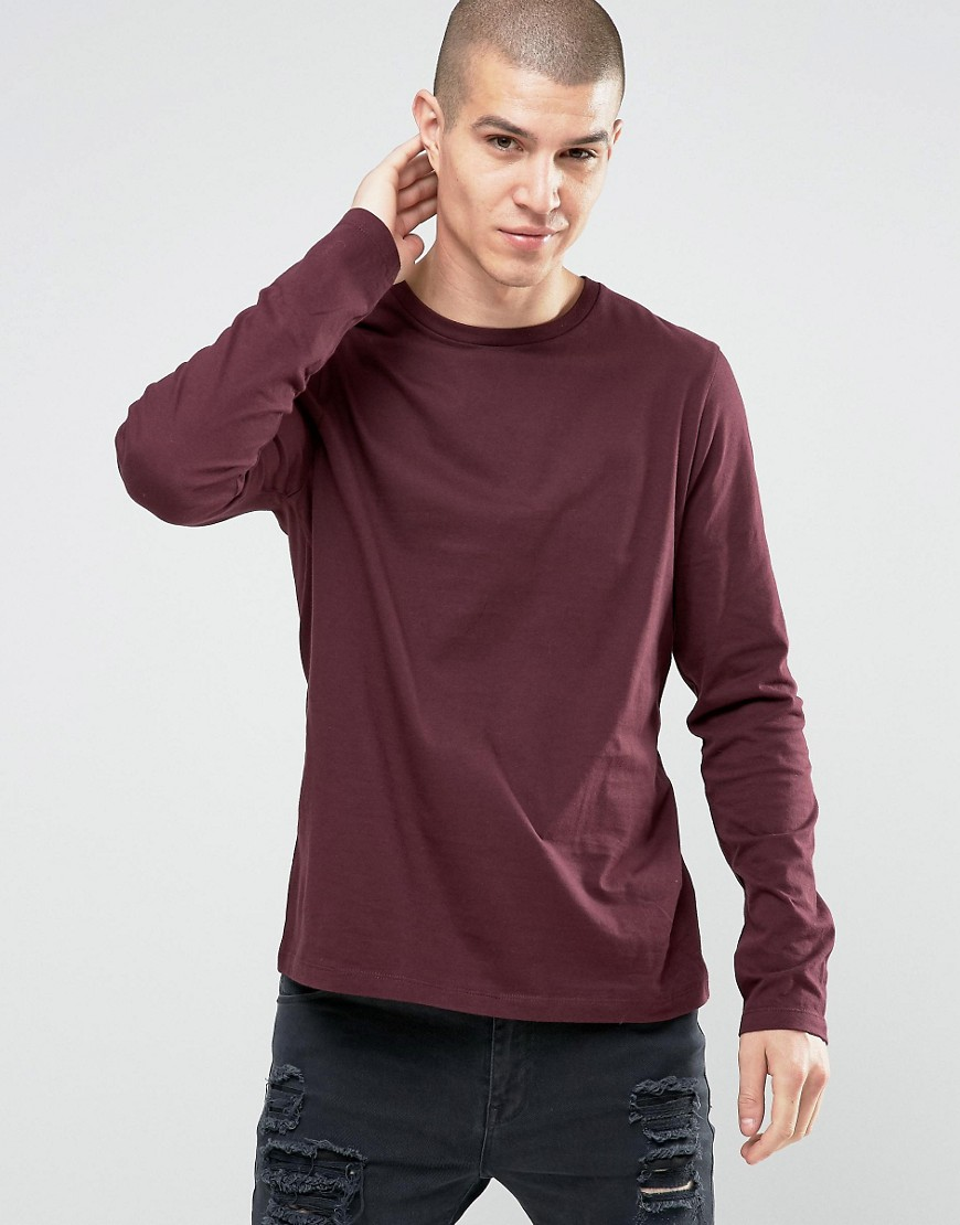 ASOS Long Sleeve T-Shirt With Crew Neck In Oxblood - Red