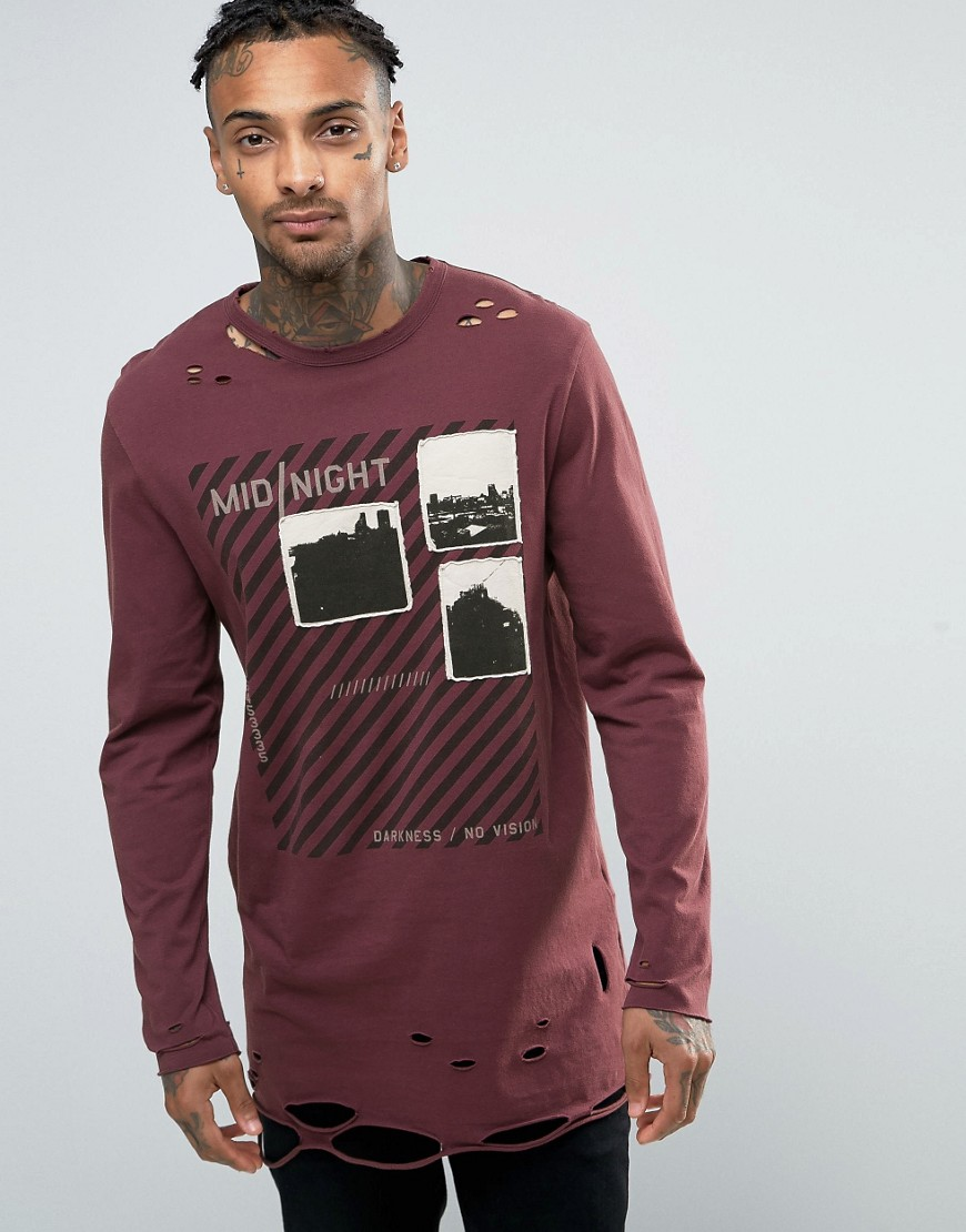 ASOS Longline Long Sleeve T-Shirt With Printed Applique And Distressed