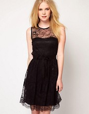 Mango Belted Lace Skater Dress