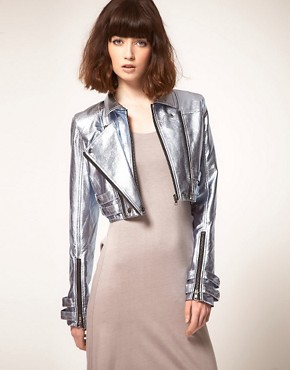 Image 1 ofstylestalker Heavy Metallic Jacket