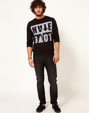 Image 4 ofASOS Sweatshirt With Love Hate Print