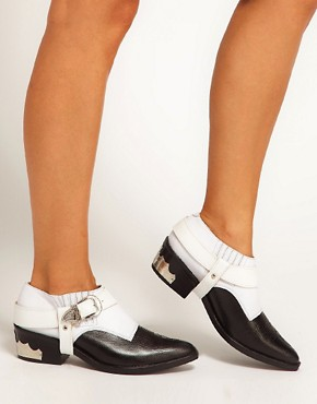 Image 3 ofToga Pulla Black/White Cowboy Ankle Boots