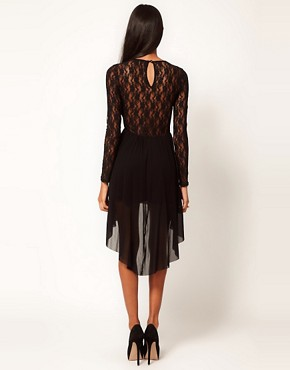 Image 2 ofASOS Lace Insert Skater Dress With High Low Hem