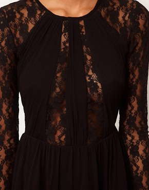 Image 3 ofASOS Lace Insert Skater Dress With High Low Hem