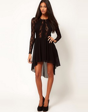 Image 4 ofASOS Lace Insert Skater Dress With High Low Hem