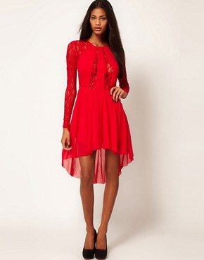 Image 1 ofASOS Lace Insert Skater Dress With High Low Hem